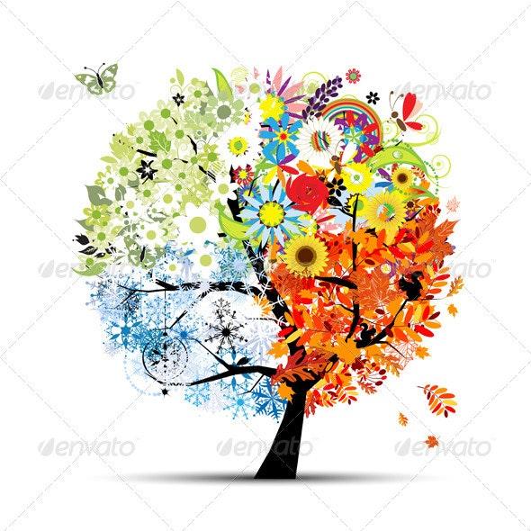 Art tree. Four Seasons Of Nature. - Seasons Nature
