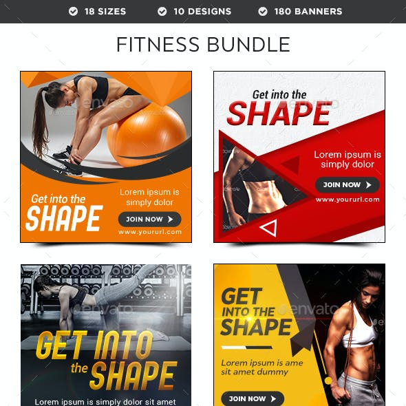 Health & Fitness Banners Bundle - 10 Sets - 180 Banners