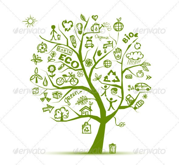 Green ecology tree concept. Hand drawing sketch. - Health/Medicine Conceptual