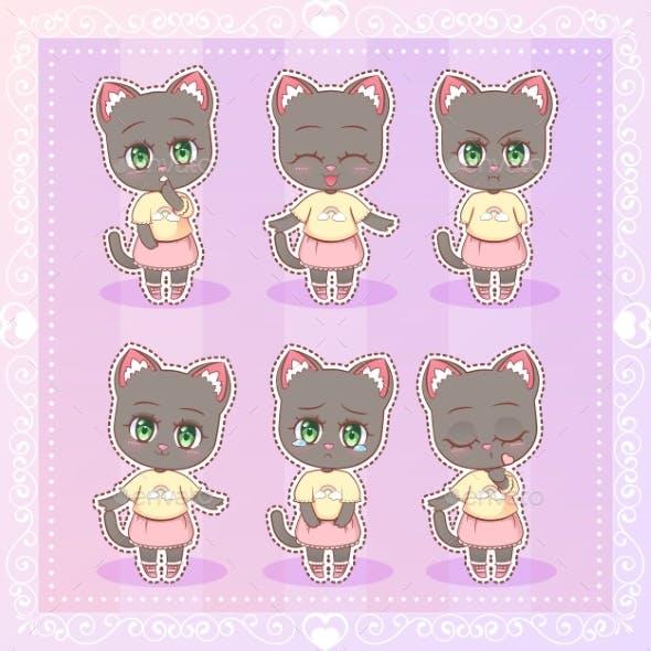 Kawaii Anime Cartoon Cat