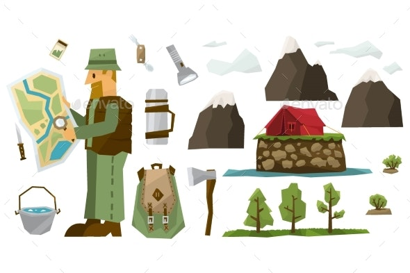 Hiking Equipment Vector Illustration Set - Sports/Activity Conceptual