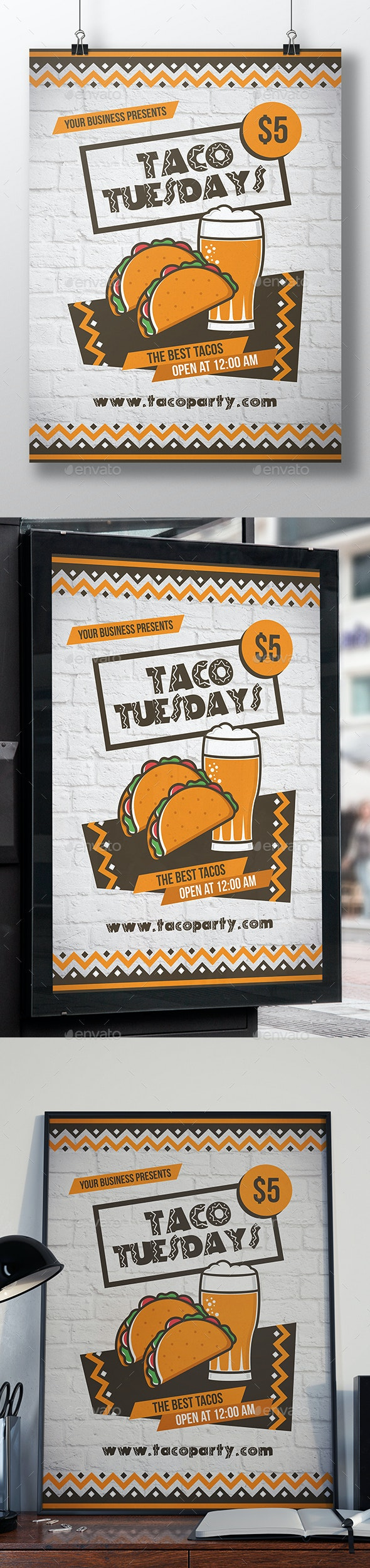 Mexican Tacos Flyer Template - Restaurant Flyers