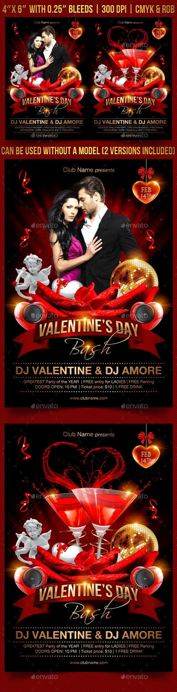 Valentines Day Bash Flyer Template - Clubs & Parties Events