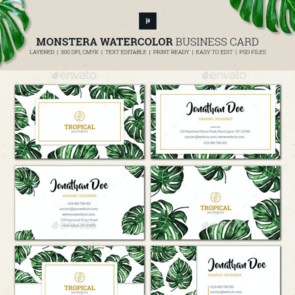 Monstera Watercolor Business Card 01