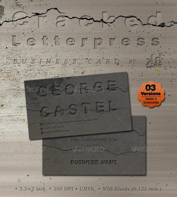 Cracked Letterpress Business card  - Grunge Business Cards