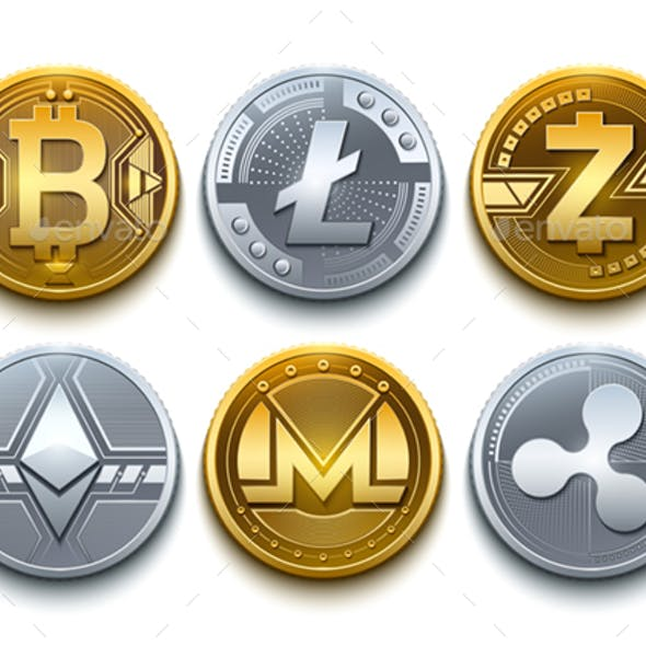 Digital Vector Cryptocurrency Coins Icons Set With Bitcoin