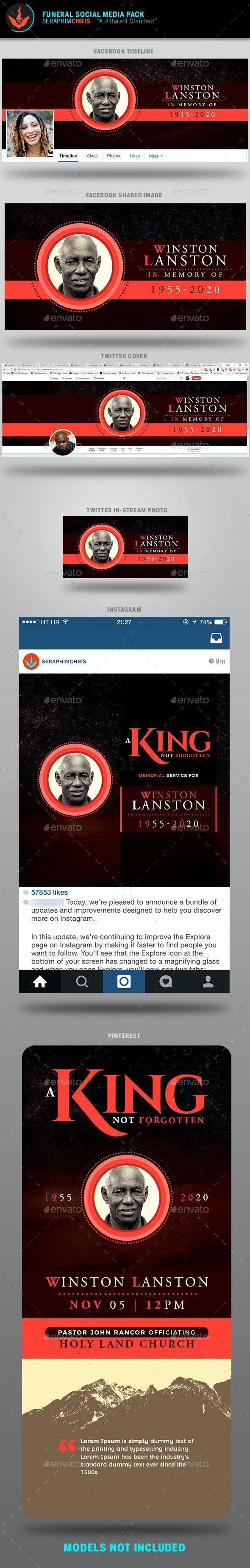King Funeral Social Media Template Pack - Facebook Timeline Covers Social Media