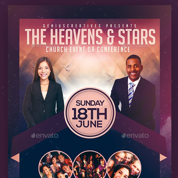 Heaven and Stars Church Flyer Template