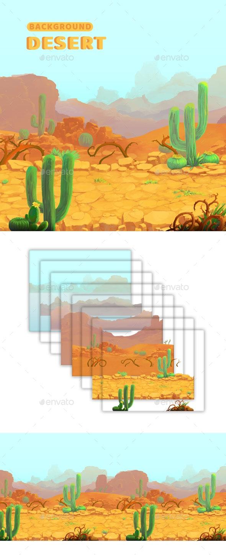 Desert - Game Background - Backgrounds Game Assets
