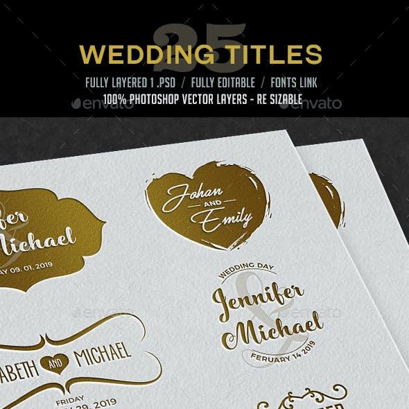 25 Wedding Titles / Typography
