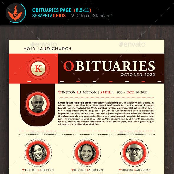 King Modern Church Obituary Page Template