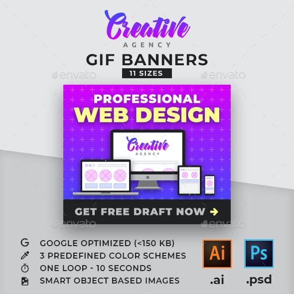Creative Agency - Web Design Services Animated GIF Banner Ad Templates
