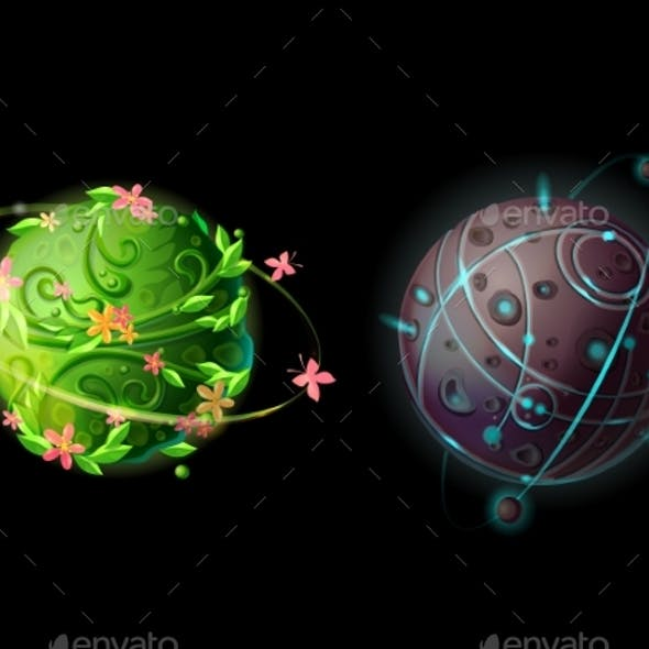 Vector Cartoon Planets for Game Design Set
