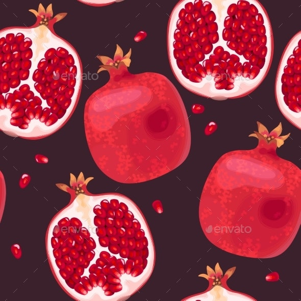 Seamless Pattern with Pomegranate - Miscellaneous Vectors