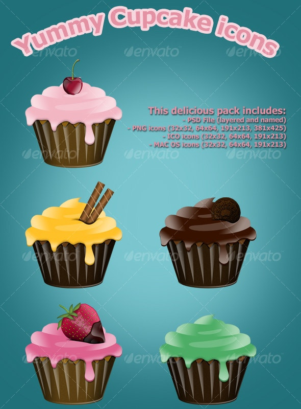 Yummy Cupcake icons - Food Objects