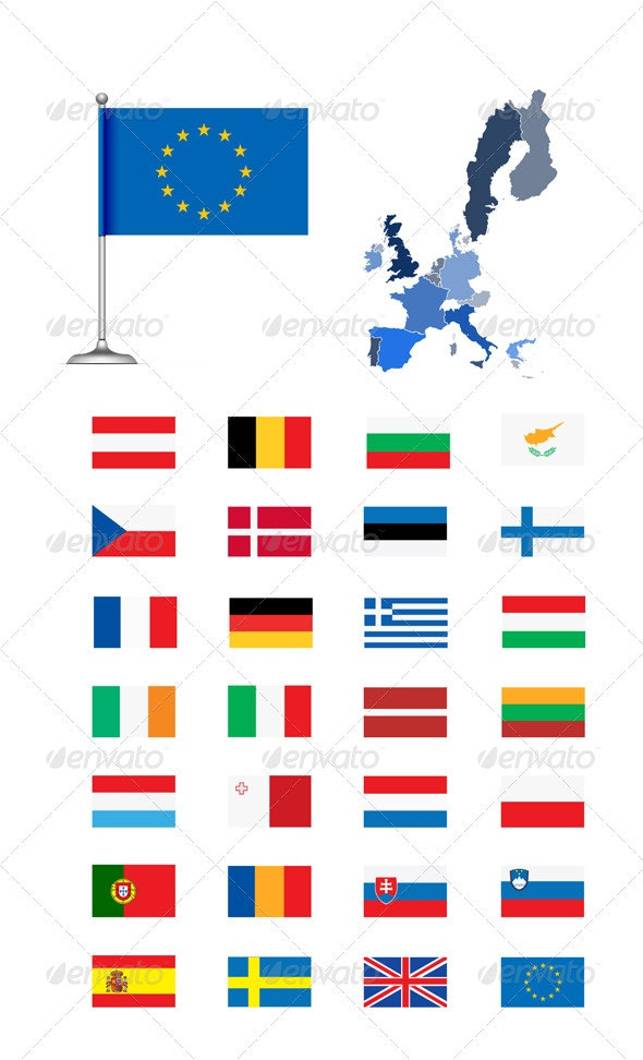 European Union Map And Flag - Travel Conceptual