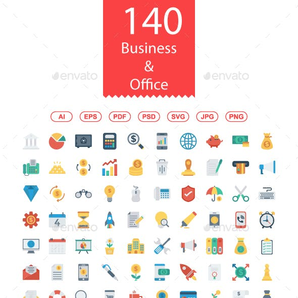 140 Business and Office Flat icons