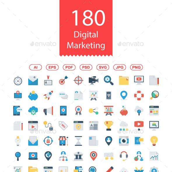 180 Digital Marketing Flat icons