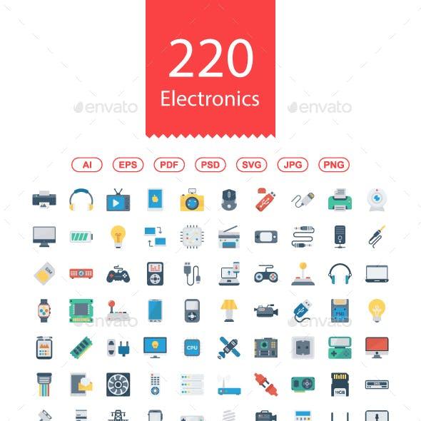 200+ Electronics Flat icons