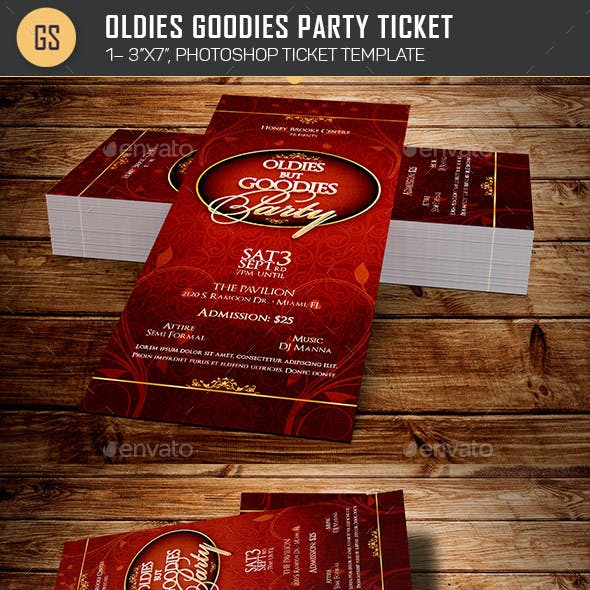 Oldies Goodies Party Ticket Template