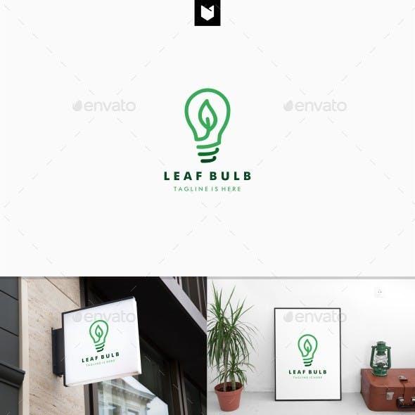 Leaf Bulb eco Idea Logo design