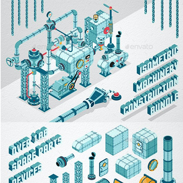 Isometric Machinery Construction Kit