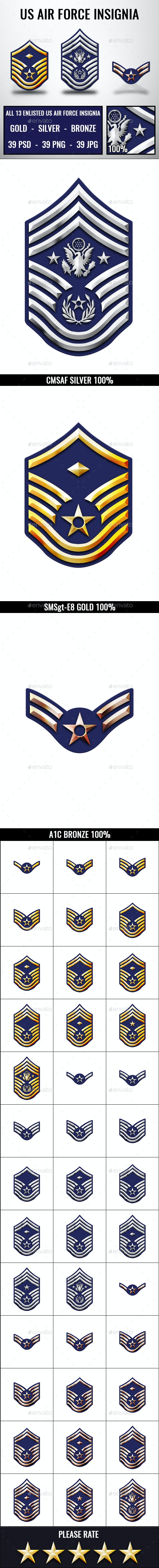 US Air Force Rank Insignia Badges
