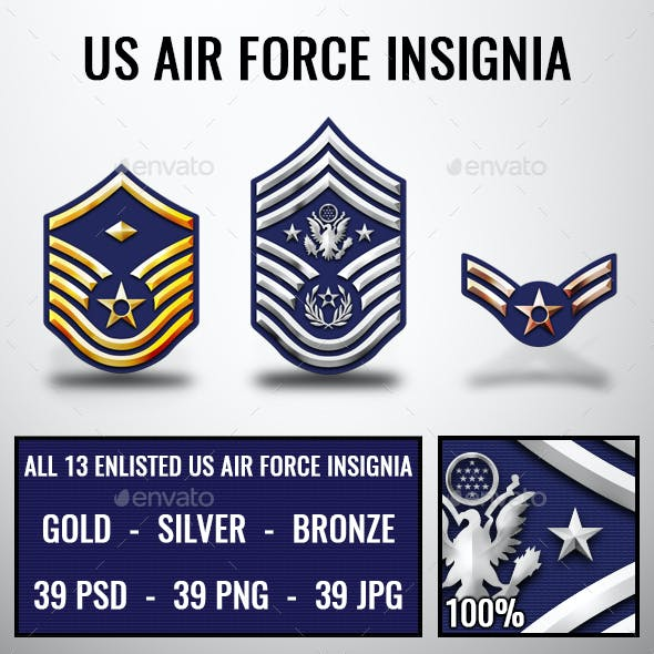 US Air Force Rank Insignia Badges