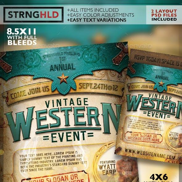 Vintage Western Event Flyer Template