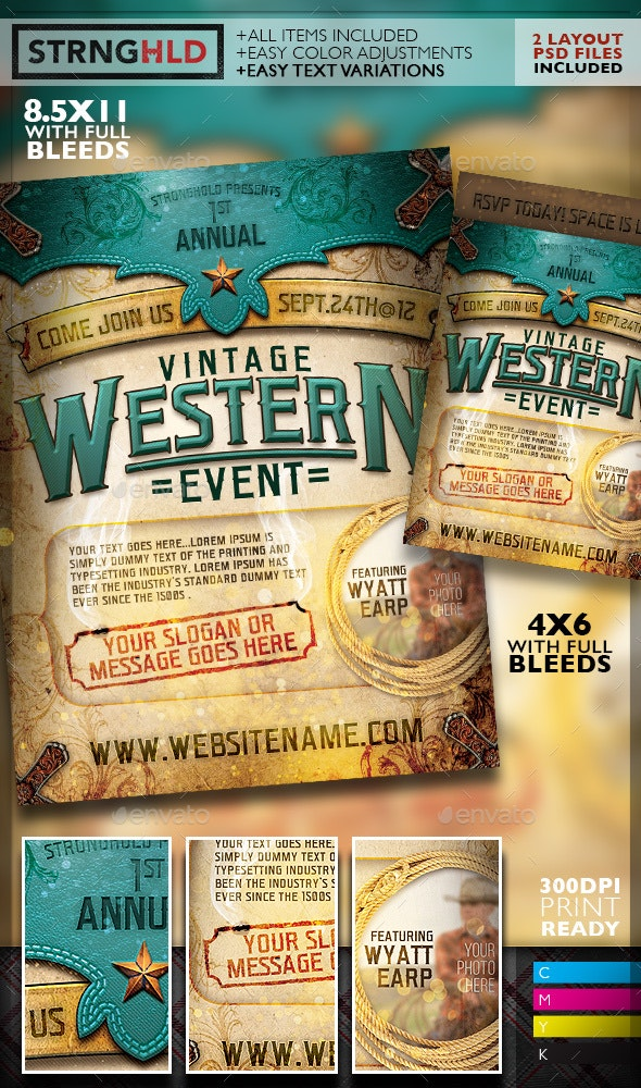 Vintage Western Event Flyer Template - Events Flyers
