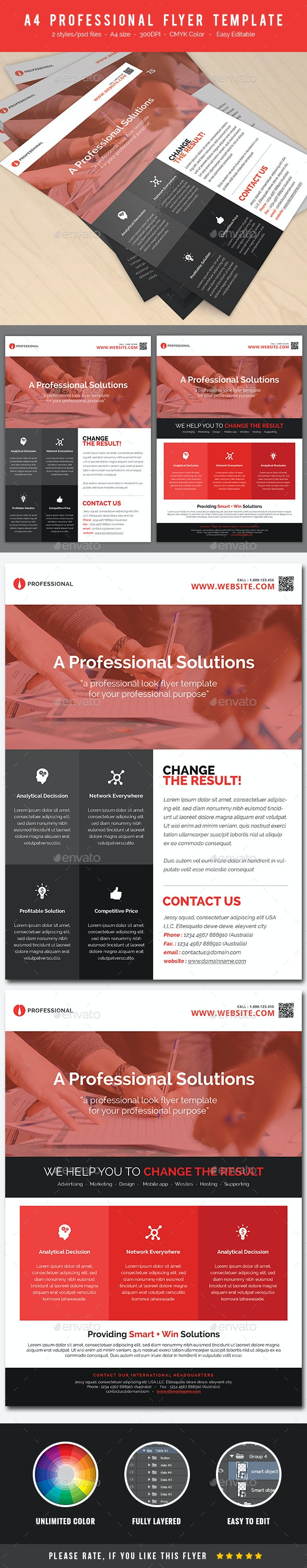 A4 Professional Flyer Template - Corporate Business Cards