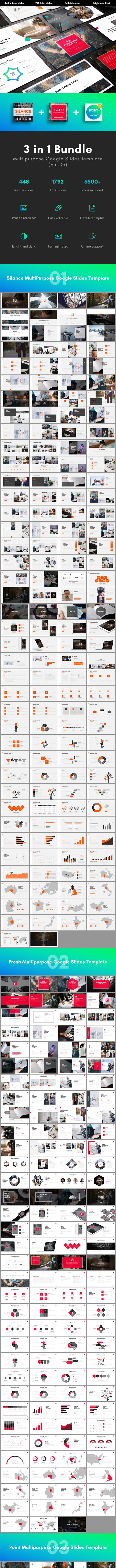 3 in 1 Multipurpose Google Slides Template Bundle (Vol.03) - Google Slides Presentation Templates