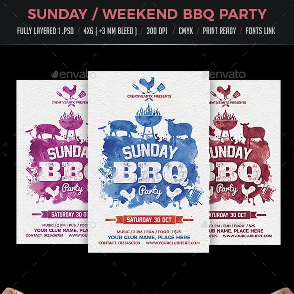 Sunday Weekend BBQ Flyer