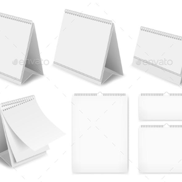 Paper Blank Desk Calendar Set
