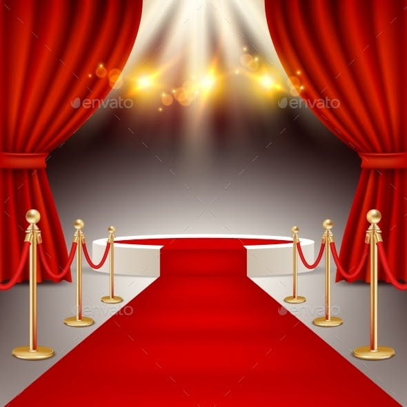 Winners Podium with Red Carpet Vector Realistic