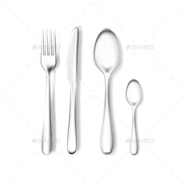 Realistic Vector Fork and Knife, Spoons Mockup.