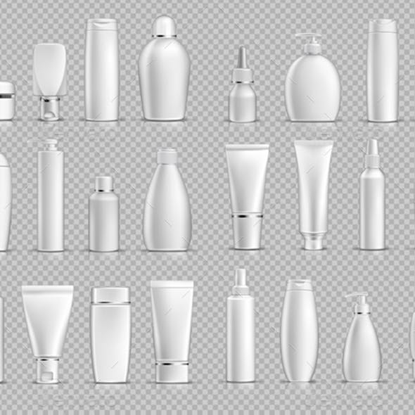 Vector Realistic Cosmetic Bottles Mockup Pack