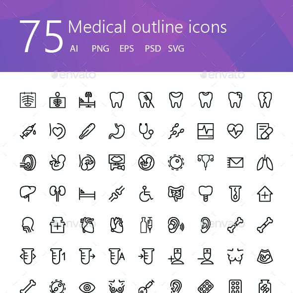 75 Medical outline icons