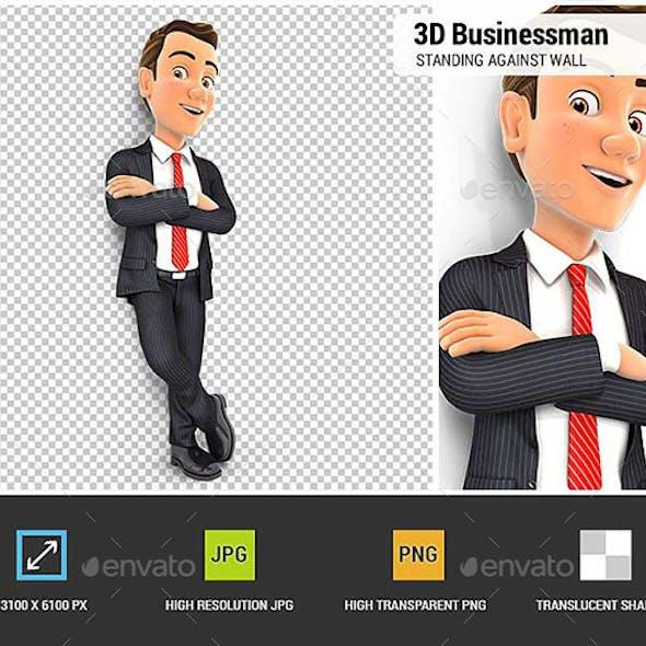 3D Businessman Standing Against Wall