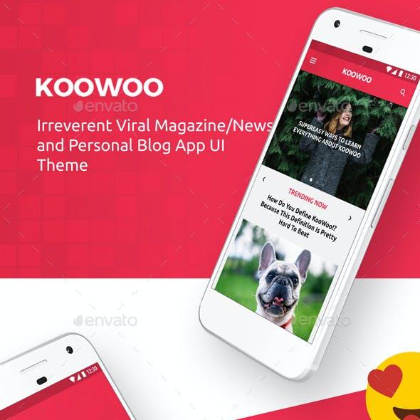 News, Magazines, Blogs Android + iOS App UI Set  |  KooWoo