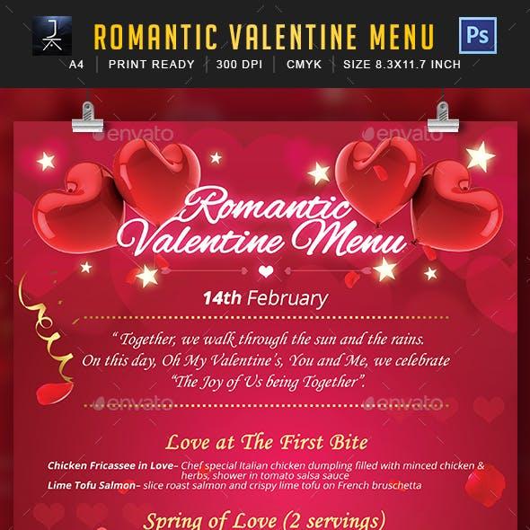 Romantic Valentine Menu