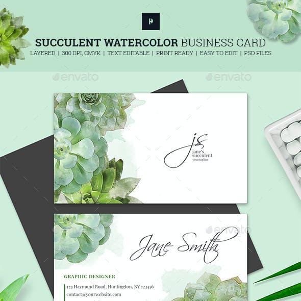 Succulent Watercolor Business Card 02