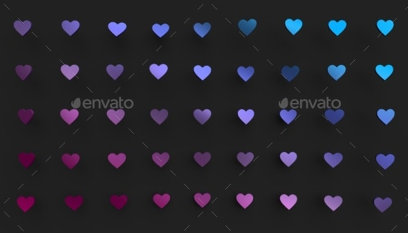 Abstract 3D Rendering of Heart Shapes - Abstract 3D Renders