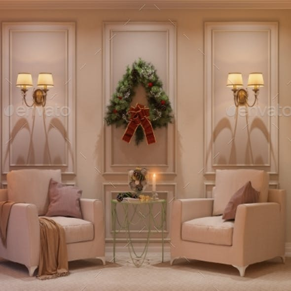 3d Illustration of a Christmas Interior