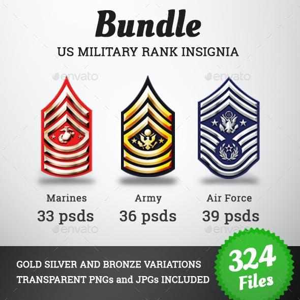 Military Rank Insignia Badges Bundle