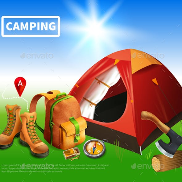 Camping Realistic Flyer