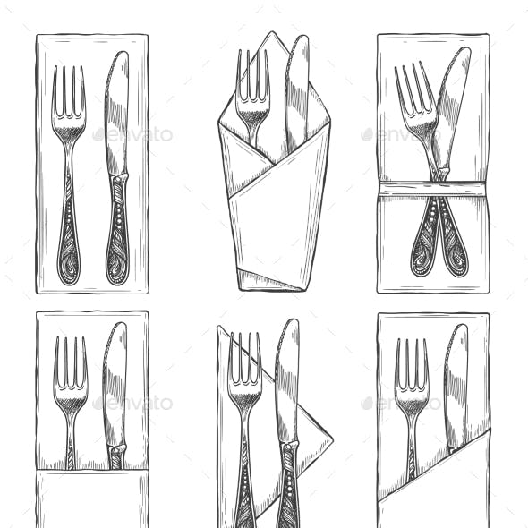 Cutlery on Napkins Set Sketch