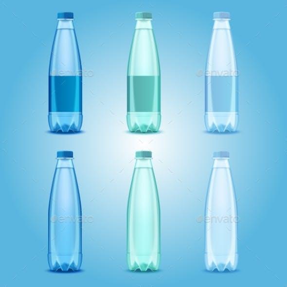 Vector Realistic Plastic Drinking Water Bottles