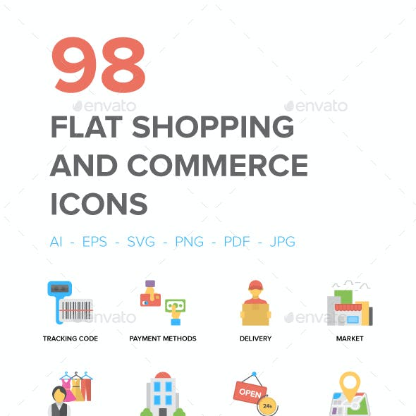Flat Shopping and Commerce Icons