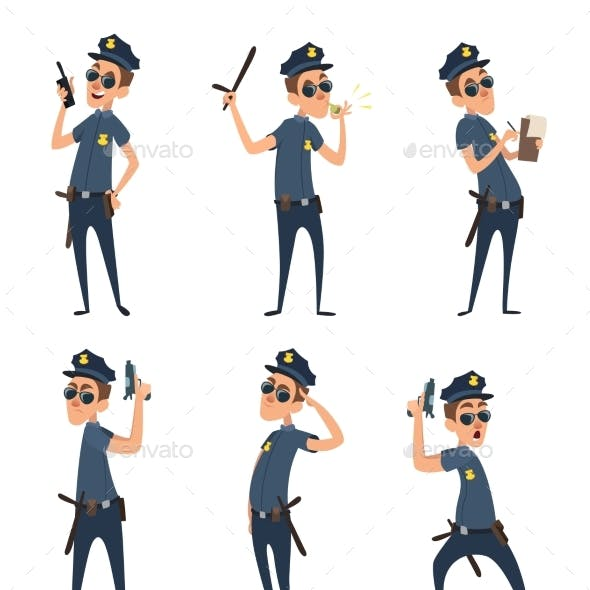 Funny Cartoon Characters of Policemen in Action